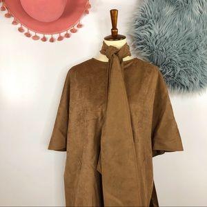 Vtg 60s Vegan Suede Bell Sleeve Oversized Coat M L